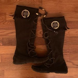 Tory Burch chocolate suede fringe boots; size 6